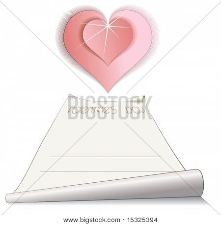 Vector paper scroll with romantic pink heart