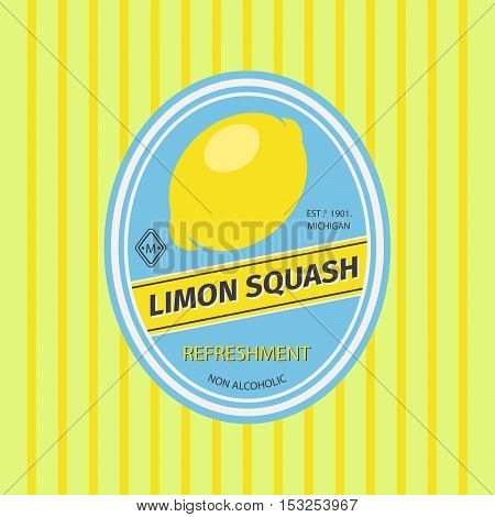 Limon squash retro fruit label and simple pattern backdrop. Vector illustration