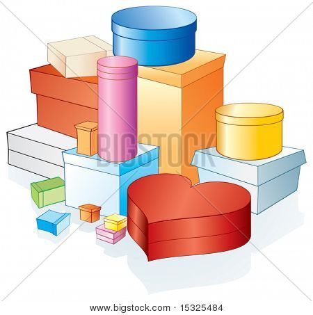 Vector various gift box/packages (grouped and isolated elements)
