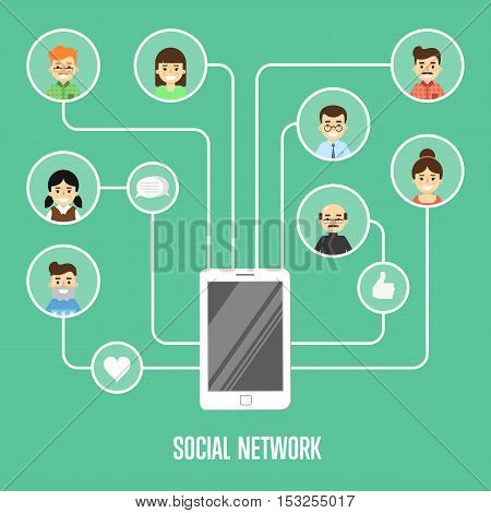 Round people icons connected with smartphone. Social network banner on green background, vector illustration. Smiling cartoon characters. Teamwork concept. Creative network, information process