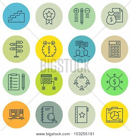Set Of Project Management Icons On Time Management, Analysis And Discussion Topics. Editable Vector