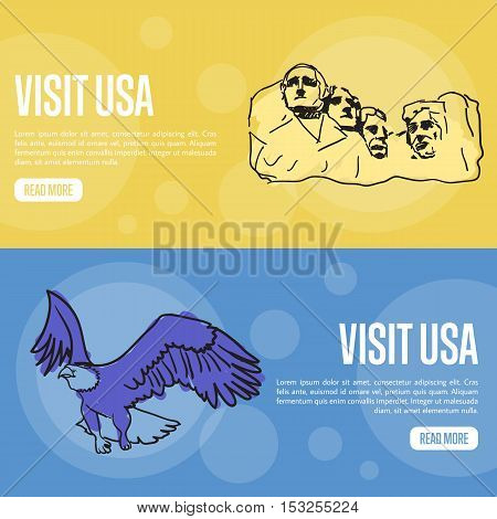 Visit USA banners. Mount Rushmore memorial, flying bald eagle hand drawn vector illustrations on colored backgrounds. Web templates with country related symbols. For travel company web page design