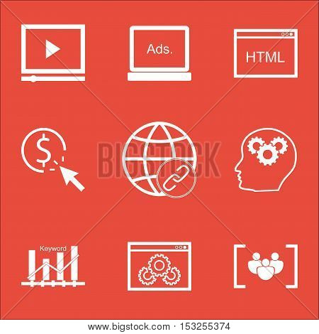 Set Of Advertising Icons On Ppc, Video Player And Website Performance Topics. Editable Vector Illust