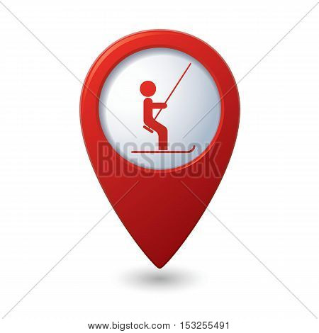 Map pointer with ski lift icon. Vector illustration