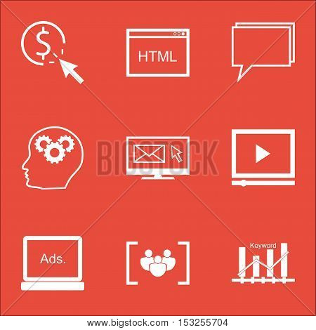 Set Of Advertising Icons On Coding, Questionnaire And Video Player Topics. Editable Vector Illustrat