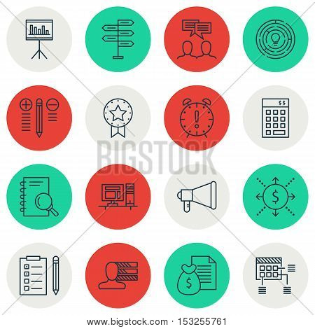 Set Of Project Management Icons On Opportunity, Announcement And Reminder Topics. Editable Vector Il