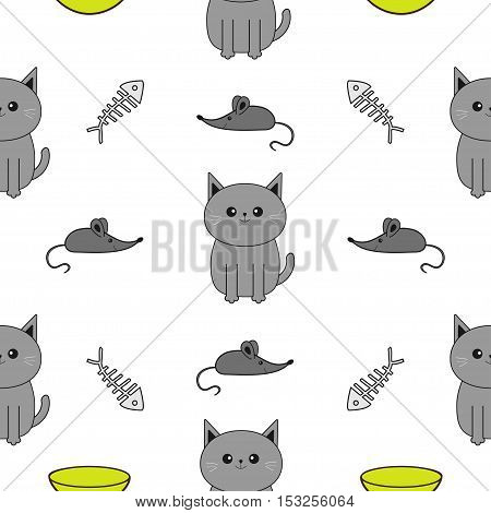 Cute gray cartoon cat. Bowl fish bone mouse toy. Funny smiling character. Contour Isolated. Seamless Pattern White background. Flat design. Vector illustration.