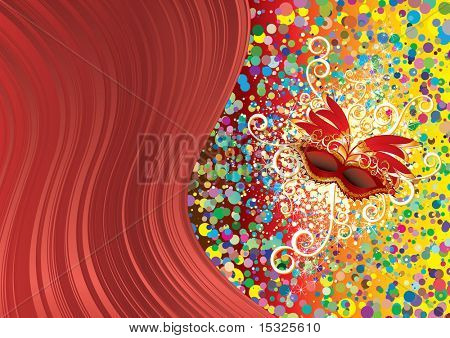Festive background with red mask (vector at portfolio)