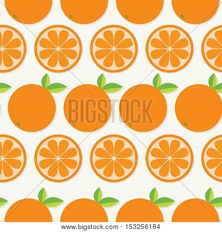 Orange fruit set with leaf in a row. Cut half Healthy lifestyle food. Seamless Pattern Flat design. White background. Vector illustration