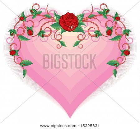 Floral rose ornament on pink heart(vector at portfolio)
