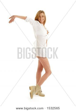 Happy Girl In White Dress And Boots