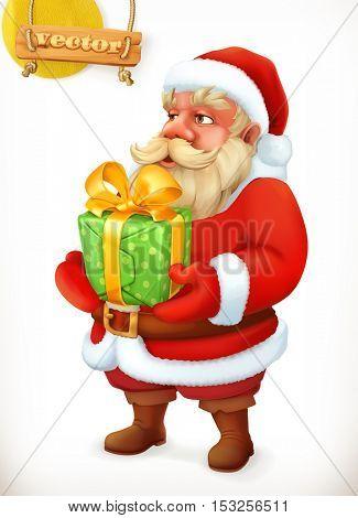 Santa Claus cartoon character. Christmas gift. 3d vector icon