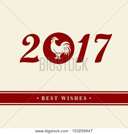 2017 Chinese New Year of the Rooster. Silhouette of red cock. The zodiac symbol. Elements for design greeting card and invitation brochure flyer. Vector illustration