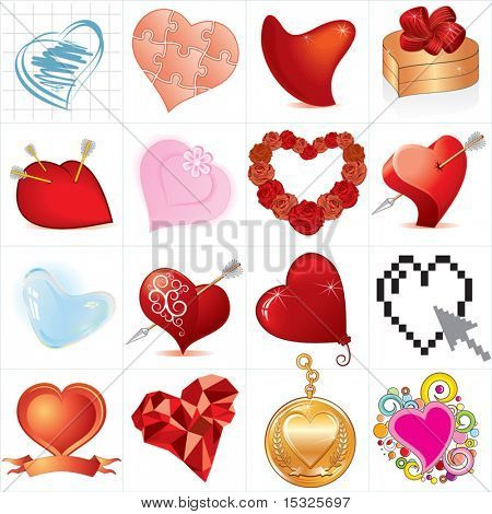 Huge collection of  vector hearts ,detailed isolated icons (#4)