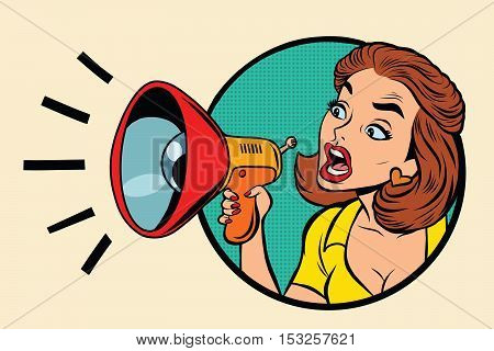 Comic woman agitator shouts into a megaphone, pop art retro comic book illustration