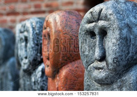 reconstruction of the old pre-Christian stone statues made in a different color
