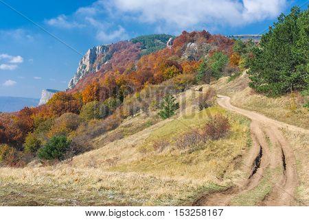 Landscape with road in mountains - mountain pasture Demerdzhi Crimea Ukraine.