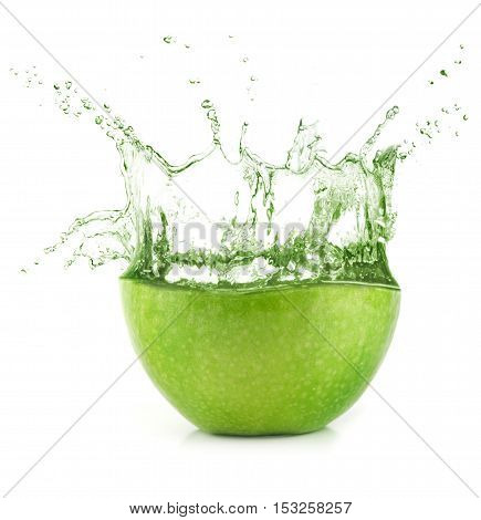 Fresh Green Apple Juice With Water Splash.
