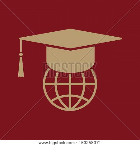 The graduation cap and globe icon. Education symbol. Flat Vector illustration