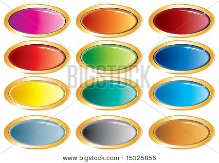 Glossy multicolored vector buttons (no mesh)