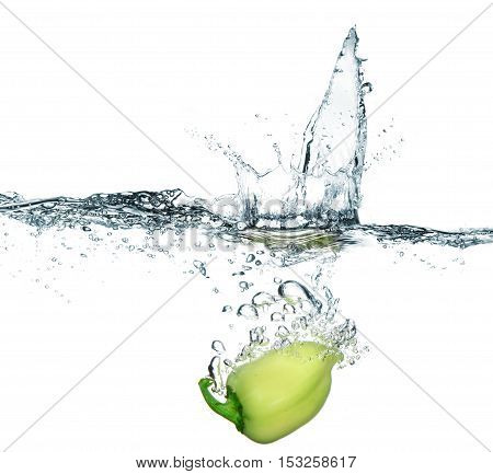 Sweet Pepper In Water With Splash. Isolated