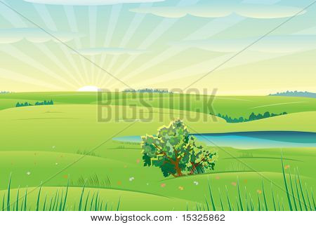 Beautiful sunny day,vector  landscape