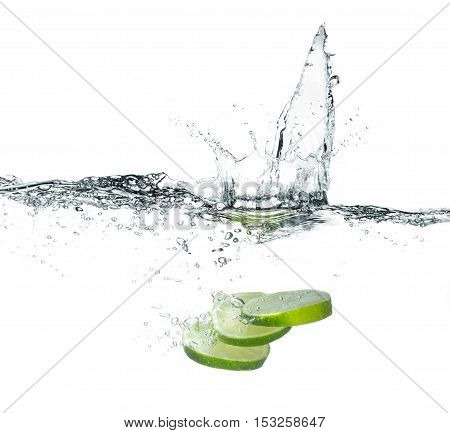 Fresh Lime With Water Splash Isolated