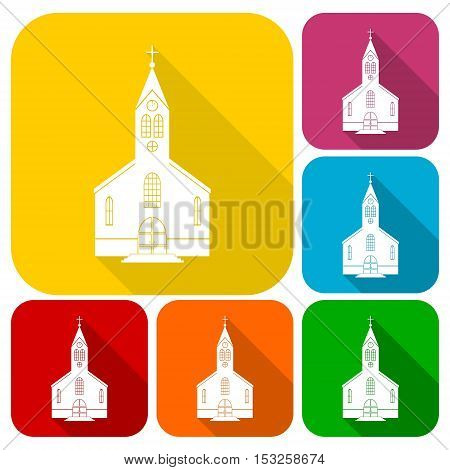 Simple Church icons set with long shadow