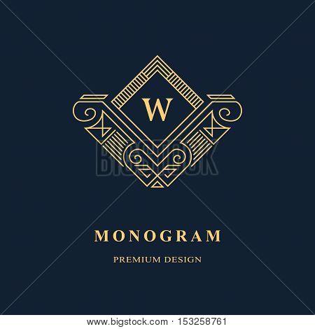 Line graphics monogram. Elegant art logo design. Emblem. Graceful template. Letter W. Business sign identity for Restaurant Royalty Boutique Cafe Hotel Heraldic Jewelry Fashion. Vector element