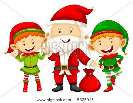 Santa and two eleves with red bag illustration