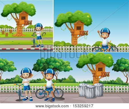Kids riding bike in the park illustration