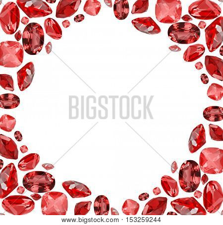 frame from red ruby gems isolated on white background