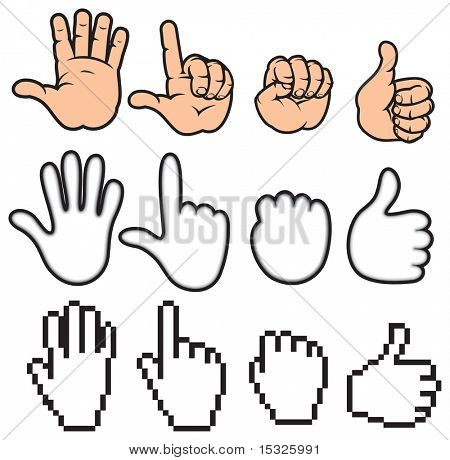 Stylized collection of hands - vector variant id=47574355