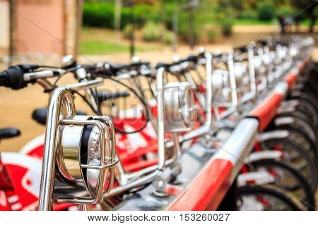 Urban Bicycle In A Row