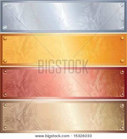 Various vector metallic plates with rivets, golden,silver,bronze,copper