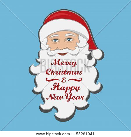 Santa Claus isolated. Merry Christmas and Happy new year message. Holiday clipart Cartoon Character. Drawn Festive element for design of Greeting card invitation brochure flyer. Vector Illustration
