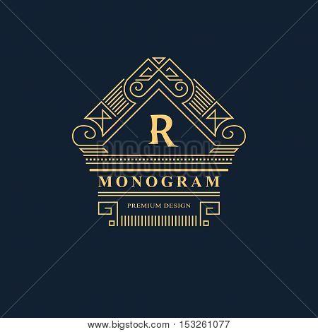 Line graphics monogram. Elegant art logo design. Emblem. Graceful template. Letter R. Business sign identity for Restaurant Royalty Boutique Cafe Hotel Heraldic Jewelry Fashion. Vector element