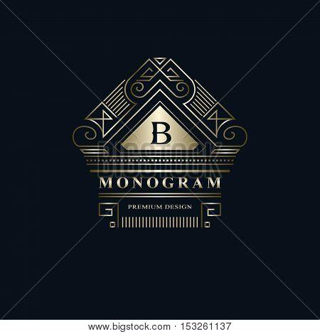 Geometric Monogram logo. Abstract Vector template in trendy mono line style. Letter emblem B. Monochrome vintage hipster. Minimal Design elements for logo badge banner insignias frame label.