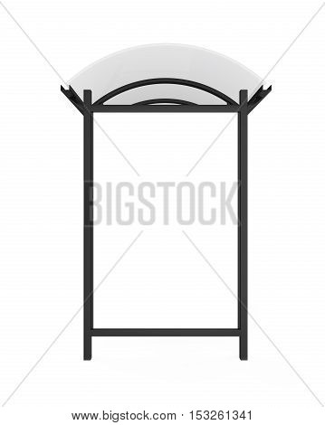 Bus Stop Billboard isolated on white background. 3D render