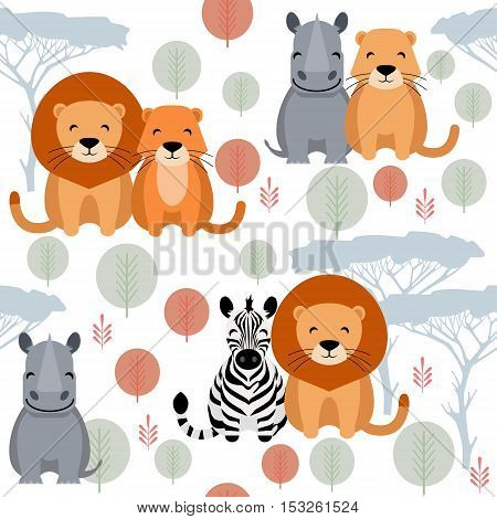 Cute vector animal seamless pattern with lion, rhino, zebra on white background