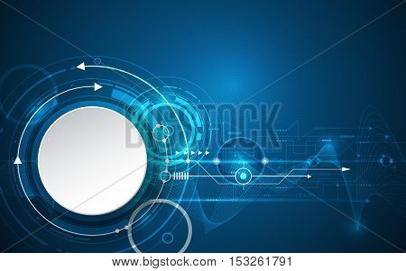 Vector illustration 3d white paper circle with wave lines and circuit board. Hi-tech digital technology, engineering, digital telecom technology concept. Abstract futuristic on dark blue background
