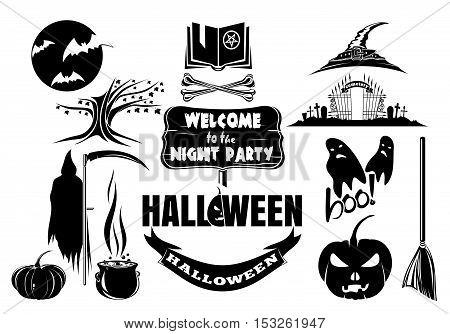 Halloween icons set. Trick or treat. Halloween silhouettes
