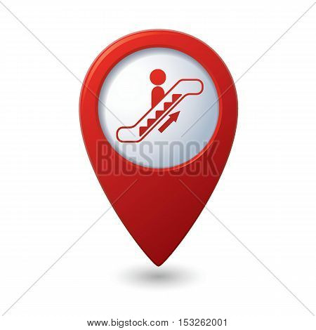 Map pointer with escalator icon. Vector illustration