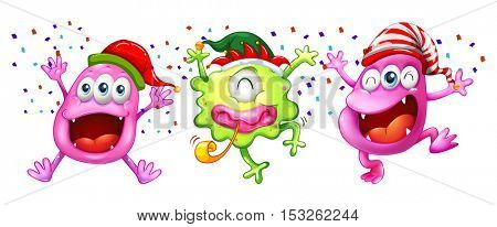 Three monsters wearing party hats illustration
