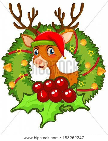 Christmas theme with reindeer and mistletoes illustration