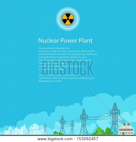 High Voltage Power Lines Supplies Electricity to the City ,Electric Power Transmission, Poster Brochure Flyer Design, Radiation Sign, Vector Illustration