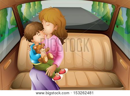 Boy and mother in back seat  illustration