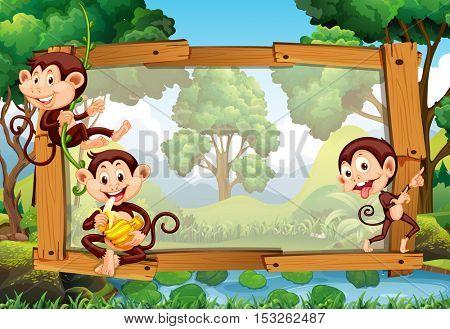 Frame design with monkeys in jungle illustration