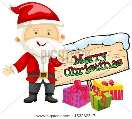 Christmas theme with Santa and christmas presents illustration