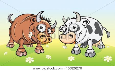 Cartoon farm animals.Cow and Bull on meadow